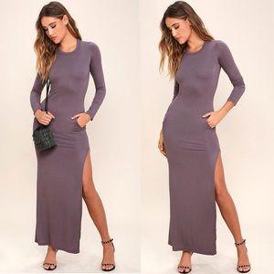 💜Lulus Want It All Dusty Purple Maxi Dress (L)